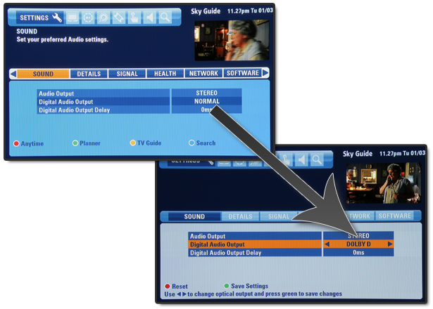 Changing the audio setting on the Sky box