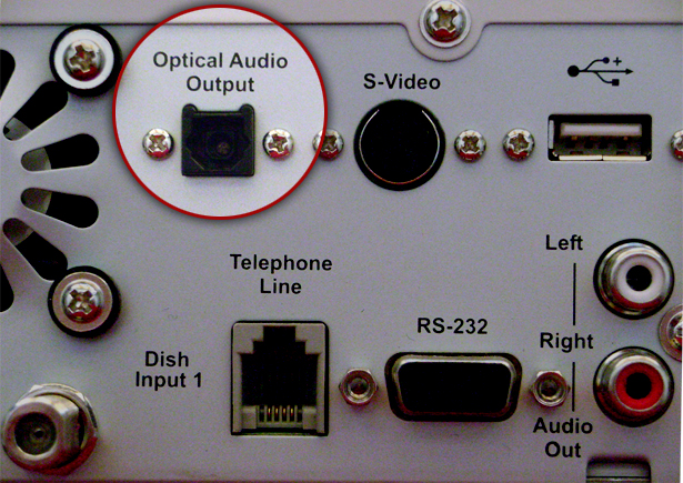 Rear of a Sky Plus box with the optical output highlighted