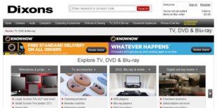 Screengrab of the Dixons website