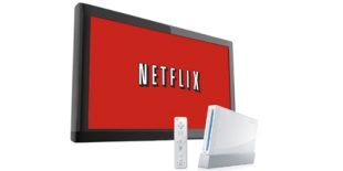 Netflix logo on TV screen with Nintendo Wii console in front